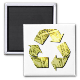 Save Money Recycle Square Magnet