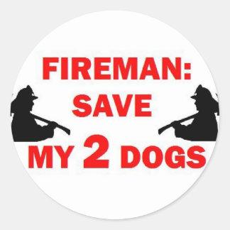 Save My 2 Dogs Fireman Classic Round Sticker