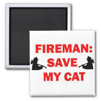 Save My Cat Fireman Square Magnet