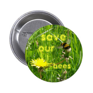save our bees 6 cm round badge