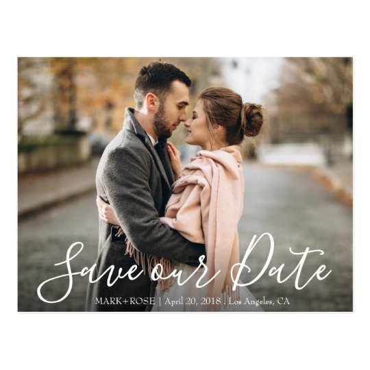 save our date script postcard