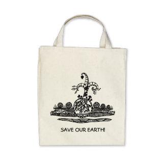 save our earth leinentaschen