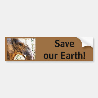 Save our Earth! Elephant Photo Bumper Sticker