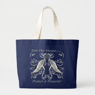 `Save Our Oceans' Dolphins II Jumbo Tote Bag