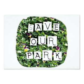 Save Our Park! White block inverted text on flower Invite