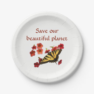 Save Our Planet Butterfly Flowers Paper Plate 7 Inch Paper Plate