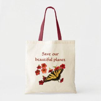 Save Our Planet Butterfly Flowers Tote Bag