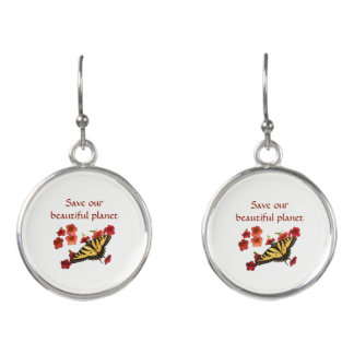 Save Our Planet Butterfly on Red Flowers Earrings