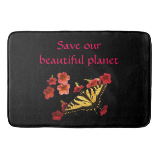 Save Our Planet Butterfly Red Flowers Bath Mat