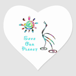 Save Our Planet Heart Sticker