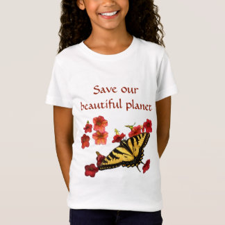 Save Our Planet Yellow Butterfly on Red Flowers T-Shirt