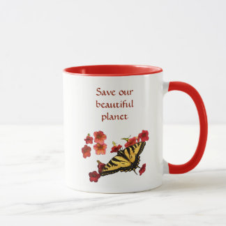 Save Our Planet Yellow Butterfly Red Flowers Mug