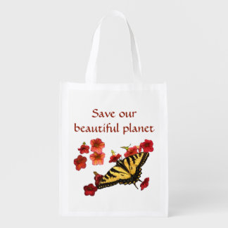 Save Our Planet Yellow Butterfly Red Flowers Reusable Grocery Bag