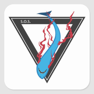 save our sharks SOS triangle Square Sticker