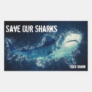 Save Our Sharks Tiger Shark Rectangular Sticker