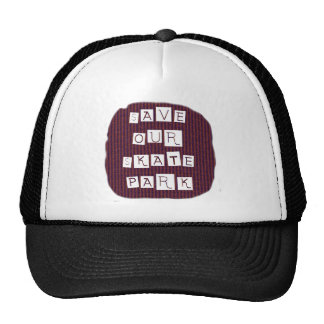 Save Our Skate Park! Text against red blue back Trucker Hat
