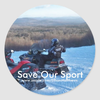 Save Our Sport (Snowmobiling) Round Sticker