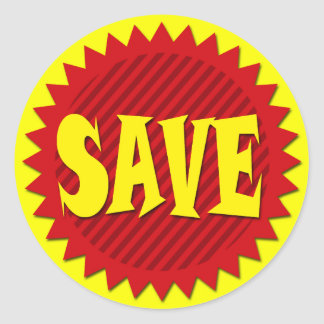 SAVE RETAIL SALES LABEL ROUND STICKER