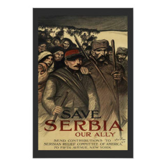 Save Serbia World War One Vintage Print