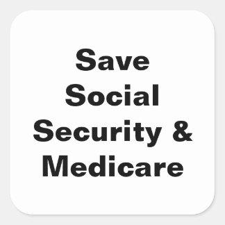 Save Social Security & Medicare Square Sticker
