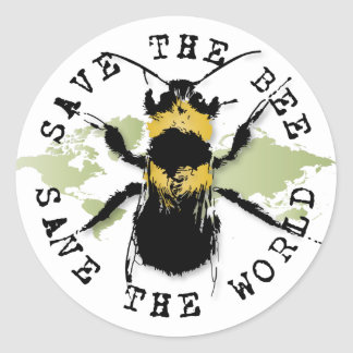 Save the Bee! Save the World! Medallion Collection Classic Round Sticker