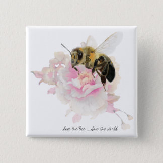Save the Bee! Save the World! Pretty Bee 15 Cm Square Badge