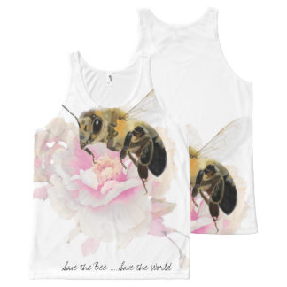 Save the Bee! Save the World! Pretty Bee All-Over Print Singlet