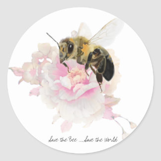 Save the Bee! Save the World! Pretty Bee Classic Round Sticker