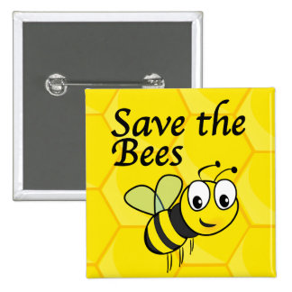 Save the Bees 15 Cm Square Badge