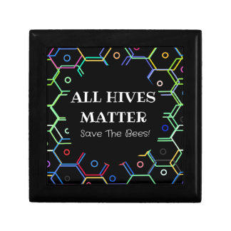 Save The Bees - All Hives Matter Small Square Gift Box