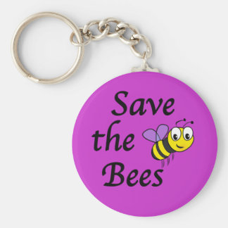 Save the Bees Basic Round Button Key Ring