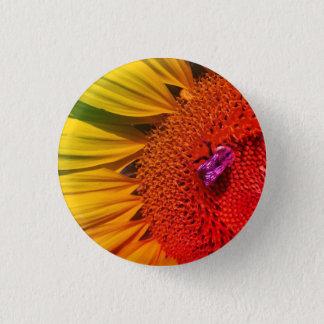 Save the Bees Bright Yellow Rainbow Sunflower 3 Cm Round Badge