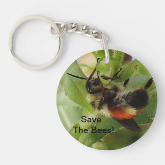 Save The Bees Macro Photo Keychain 2 Sides