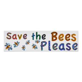 Save the Bees Please classroom poster