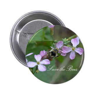 Save the Bees....Radish Flowers Button