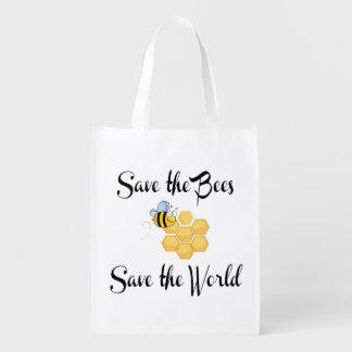 Save the Bees Save the World Reusable Grocery Bag
