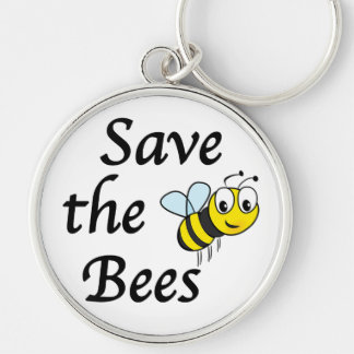 Save the Bees Silver-Colored Round Key Ring