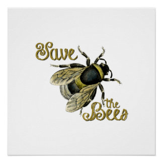 Save the Bees vintage illustration