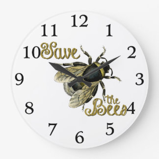 Save the Bees vintage illustration Large Clock