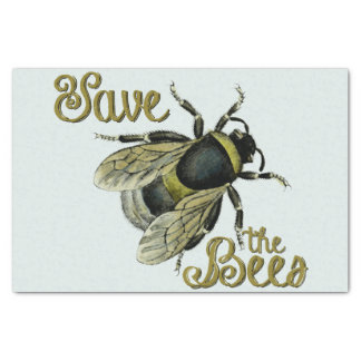 Save the Bees vintage illustration Tissue Paper