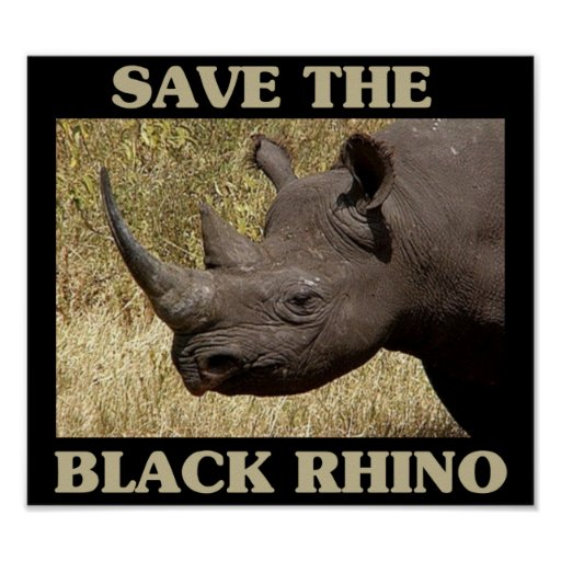 Save the Black Rhino Print