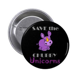 Save the Chubby Unicorns Fun Artwork 6 Cm Round Badge