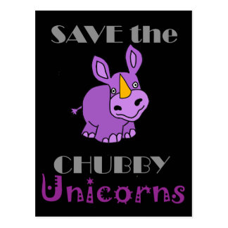 Save the Chubby Unicorns Fun Artwork Postcard
