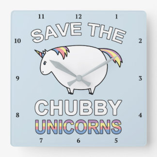 Save The Chubby Unicorns Square Wall Clock
