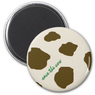 SAVE THE COW brown 6 Cm Round Magnet
