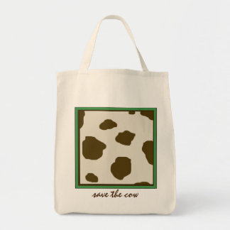 SAVE THE COW brown Grocery Tote Bag