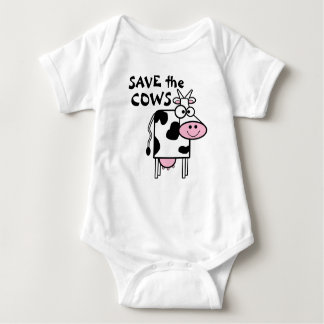 Save The Cows Cute Animal Print Baby Bodysuit