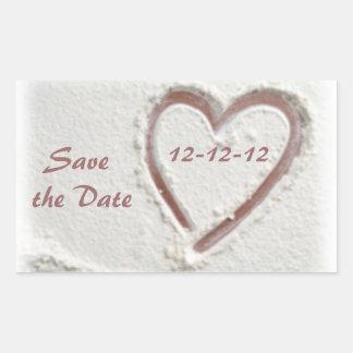 Save the Date 12-12-12 Beach Wedding Rectangular Sticker