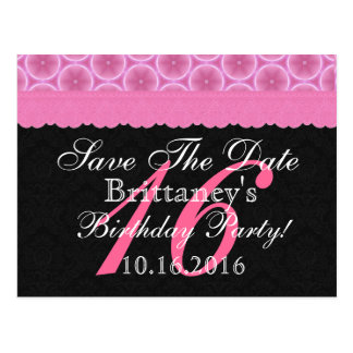Save the Date 16th Birthday Pink and Black Lace Postcard