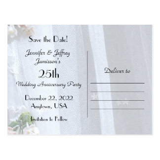 Save the Date 25th Anniversary Announcement Postcard